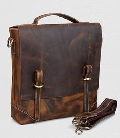 Vintage Crazy Horse Leather Briefcase   Satchel   Messenger Bag   iPad Bag  Vintage Leather, e15744c414