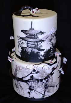 Japanese theme wedding cake - Cake #2 for my first wedding expo this weekend. All hand painting done by my talented husband  Japan