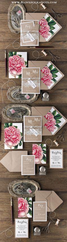 Peony Wedding Invitations #flowers #weddingideas #summerwedding #rustic