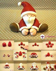 Fondant Santa tutorial - For all your Christmas cake decorations, please visit w. Fondant Santa tutorial - For all your Christmas cake decorations, please visit www. Fun Diy Crafts, Diy Craft Projects, Clay Crafts, Christmas Cake Topper, Christmas Cake Decorations, Santa Cake, Cake Decorating Set, Decorating Tips, 242