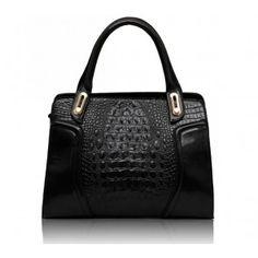top handle bags: KCMODE Ladies Designer Black Croc Leather Look Office Womens Work Handbag Leather Satchel Handbags, Tote Handbags, Look Office, Work Handbag, Womens Fashion Online, Stunning Dresses, Leather Design, Shoulder Bag, Celebrities