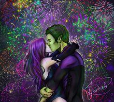 pictures of dc comics beast boy | Teen Titans couples!!!! Beast Boy x Raven kiss