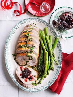 Turkey roll with sour cherry relish.