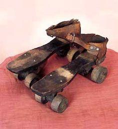 *ROLLER SKATE's ~ Wooden shoe platform & wheels, steel, nickel, brass & cow hide, c. Antique Toys, Vintage Toys, Vintage Antiques, Tin Toys, Children's Toys, Wooden Toys, Wooden Shoe, Victorian Toys, Toys In The Attic