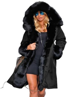 Aox Women Fashion Winter Coat with Faux Fur Hood Thicken Warm Casual Plus Size Outdoor Jacket Parka (Small, Black Brown Color) at Amazon Women's Coats Shop Faux Fur Hooded Coat, Hooded Winter Coat, Winter Coats Women, Coats For Women, Hooded Parka, Hooded Jacket, Winter Stil, Long Winter