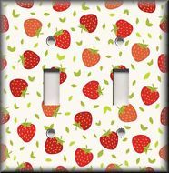 Kitchen Home Decor - Light Switch Plate Cover - Red Strawberries Kitchen