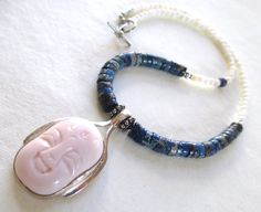 Sterling Silver Buddha Jade Lapis Necklace by guarnaccia on Etsy