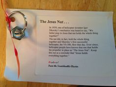 The Jesus Nut.great for the guys agape Sunday School Lessons, Sunday School Crafts, Prayer Partner, Bible Object Lessons, Childrens Sermons, Kids Church, Church Ideas, Religion Catolica, Little Presents