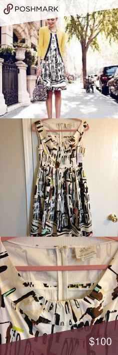 Kate Spade Havana Landscape Dress - Size 4 - $150 New with Tags (Nordstrom Rack) but the seam has come undone around the tag (please see 6th picture for close up). This could be an easy fix for someone who knows how to sew. Only selling because I am trying to cut down on dry clean only items in my closet.  KATE SPADE New York Scoop Neck Landscape Havana Fit & Flare Dress  Sleeveless Exposed back zipper  On seam pockets  Fit and flare style  97% Cotton, 3% Elastane  Style number (on tag under…