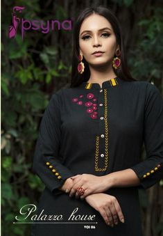 Psyna Palazzo House Vol 6 Heavy Rayon Work Kurtis With Printed Palazzo Set At Wholesale Rate - Ethnic Export Embroidery On Kurtis, Hand Embroidery Dress, Kurti Embroidery Design, Embroidery On Clothes, Embroidery Patterns, Embroidered Clothes, Embroidery Fabric, Dress Neck Designs, Kurti Neck Designs