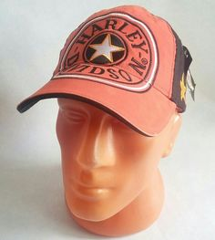 Cap+Motorcycle+Hat+Racing+Hat+Adjustable+Orange/Black