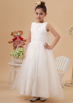 2015 Tulle Zipper Bowknot Sleeveless White Straps Ruffled Tea Length Flower Girl Dresses FGD