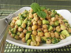 Avocado Lime Chickpea Salad 1 can chickpeas, drained and rinsed 1 avocado, diced 1 lime – zest and juice 1 tablespoon olive oil 1 clove garlic, finely minced 1/4 teaspoon each salt and pepper 1/4 cup packed finely chopped mint