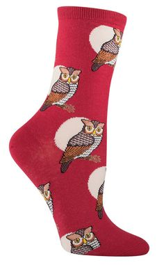 Who let the owls out? Who who-who who-who?  These crew length great horned owl against a full moon socks are available in twilight blue, crimson or seafoam green.  Fits women's shoe size 5-10.