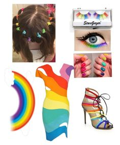 """""""RAINBOW CRAZY GIRL """" by chilover100 on Polyvore featuring Salvatore Ferragamo and Thierry Mugler"""