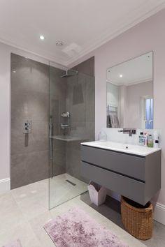 Wall Hung Vanity Bathroom Contemporary with Build Design Floating Vanity Garden Gray Vanity Home House Interiors Grey Bathroom Tiles, Grey Bathrooms, Small Bathroom, Bathroom Ideas, Loft Bathroom, Bathroom Modern, Bathroom Designs, Floating Bathroom Vanities, Floating Vanity