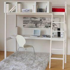 Lou Lit mezzanine 90x200cm avec bureau BLANC