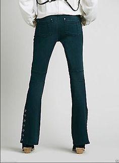 NWOT Free People 'Skyler' Seamed Skinny Flare Jeans in Wake Dark Blue Size 27