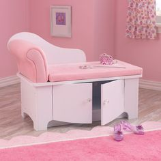 Sitting pretty, this elegantly designed chaise lounge is upholstered in plush pink. The sassy curves of this girly furniture give way to convenient storage space-perfect for stowing away dress-up and tiaras.