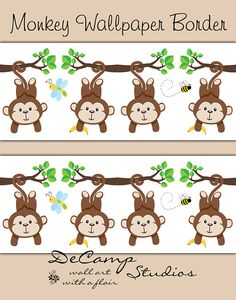 Jungle Monkey Wallpaper Border Wall Decals for baby boy nursery or children's safari animal bedroom decor. Cute baby monkeys swinging and hanging in a row #decampstudios