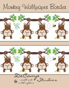 Mod Jungle Monkey Wallpaper Border Wall Decals for baby boy nursery or children's safari animal bedroom decor. Cute baby monkeys hanging in a row #decampstudios