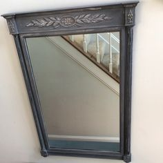 Entryway mirror painted in Annie Sloan Chalk Paint (Paris Grey + Graphite)