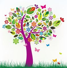 Abstract Tree Paintings | Abstract Tree with Flower Patterns