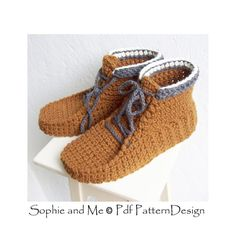 Ankle Boot Lace Up Slippers Slippers  Crochet Pattern