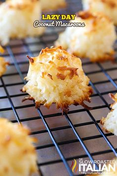 Coconut Macaroons are perfectly sweet, beautifully toasted on the outside and moist and chewy on the inside. With this lazy day recipe, I must have eaten about 20 and made another batch to take on our road trip. They are absolutely perfect fo Easy Cookie Recipes, Sweet Recipes, Baking Recipes, Dessert Recipes, Recipes Dinner, Breakfast Recipes, Edible Christmas Gifts, Homemade Christmas, Christmas Treats
