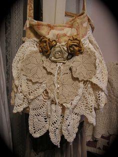 Crocheted Doily Bag vintage doilies crochet by TatteredDelicates, $155.00