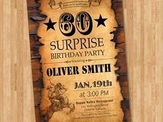 60th birthday invitation. Western birthday for men. Adult birthday. Surprise Party. 40th 50th 70th 80th 90th any age. Printable digital DIY.