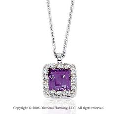 14k White Gold Princess Amethyst Prong Diamond Necklace -> Description: This gorgeous princess cut amethyst is framed in beautiful diamonds. Show your gemstone style in this 14k White Gold Princess Amethyst Prong Diamond Necklace. -> sku=NK3109 -> Price $275.00