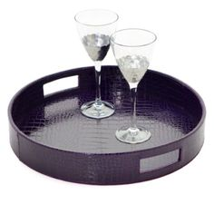 funky, fun & elegant!  Everglades Round Tray - Eggplant from Z Gallerie