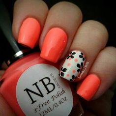 Great Nails, Simple Nails, Cute Nails, Amazing Nails, Funky Nails, Blue Nail, Orange Nails, Peach Nails, Floral Nail Art