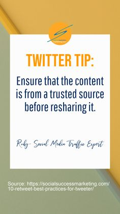 Do you check the source for reliability before retweeting it?  Click the link for more tips.  #TwitterTips  #B2BMarketing Social Media Digital Marketing, Social Media Tips, Content Marketing, Online Marketing, Marketing Ideas, Twitter For Business, Small Business Marketing, Twitter Tips, Tweet Quotes
