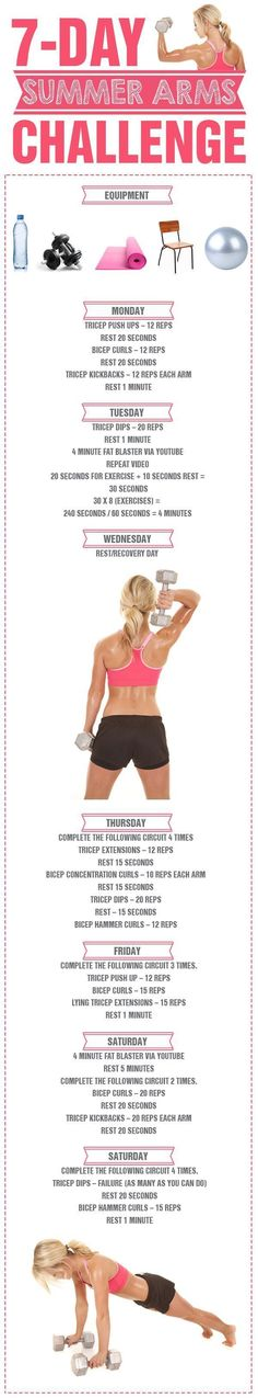 7 Day Summer Arms Challenge - there is no better time to get those beautifully toned and defined arms! 7 Day Summer Arms Challenge - there is no better time to get those beautifully toned and defined arms! Fitness Motivation, Fitness Diet, Health Fitness, Woman Fitness, Fitness Brand, Pole Fitness, Female Fitness, Physical Fitness, Arm Challenge