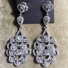 Nina Eiffel statement drop earrings, brand new. Beautiful earrings perfect for a wedding or special occasion. Very elegant and definitely a show stopper. Jewelry Earrings