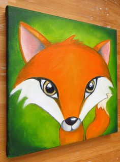 Oil on canvas FOX PORTRAIT.  Hand painted with oil colours on canvas.  This is an original painting, made by myself.  Size: 20 x 20 cm (7,8 x 7,8 inch).  No frame, but painted on the edges and ready to hang.  Actual colors may vary from those on your screen.  All my artwork comes with a Certificate of Authenticity.