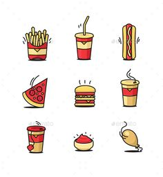 Fastfood Icons Set — Vector EPS #junk food #icons • Available here → https://graphicriver.net/item/fastfood-icons-set/14435729?ref=pxcr