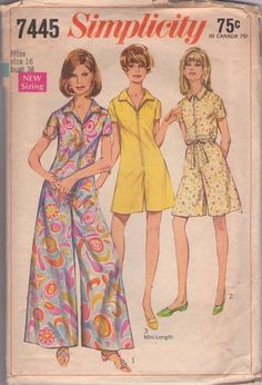 MOMSPatterns Vintage Sewing Patterns - Simplicity 7445 Vintage 60's Sewing Pattern DANDY Mod Housewife Front Zippered Pantjumper, Scooter Ro...