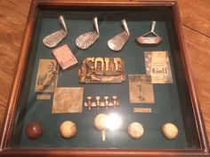 Vintage Antique Replica Golf Shadow Box The Game of Golf  Large Hanging