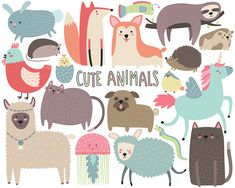 Cute Animals Clipart Funny Animal Clipart by KennaSatoDesigns