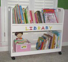 Library cart turned kids bookshelf