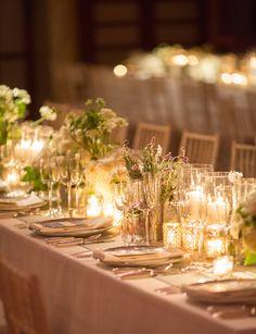 The elegant tabletop for this September city wedding.