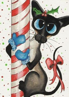 Siamese Cat Christmas Candy Climb by BiHrLe Greeting Cards Cat Dog, Cat Paws, Siamese Cats, Cats And Kittens, I Love Cats, Cool Cats, Cat Wedding, Gatos Cats, Christmas Paintings