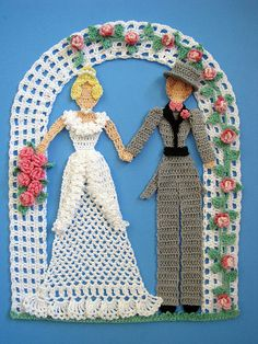 Happily Ever After Doily PDF Crochet Pattern Wedding Bride Groom Doily. $7.95, via Etsy.