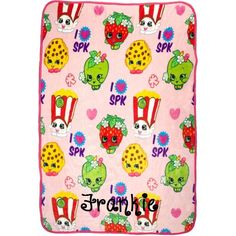 """Shopkins blanket 40"""" x 50"""" Silk-Touch Throw Personalized by CACBaskets on Etsy"""