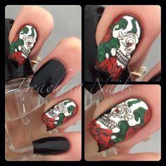Roses and Skull Mani. Close-Ups