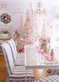 Jennifer Hayslip's Christmas Home Tour ~ December 2017 ~ beautiful sugary goodness! SO perfectly chic! Candy Land Christmas, Merry Christmas 2017, Pink Christmas Ornaments, Unique Christmas Decorations, Christmas Home, Christmas Holidays, Christmas Stuff, Christmas Trees, Shabby Chic Christmas