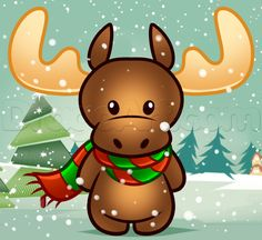 how to draw a christmas moose